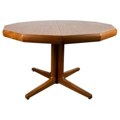 "Unusual Danish Modern Teak ""DECAGON"" '10 Sided' Expandable Dining Table 2 Leaves"