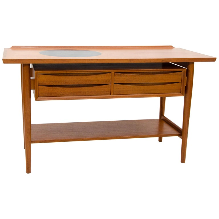 Unusual Danish Teak Buffet Or Console Table By Arne Vodder