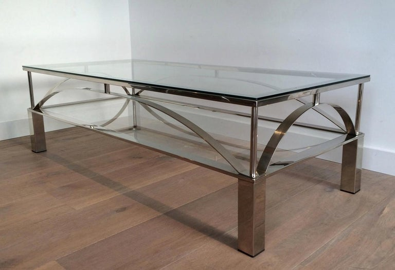 Mid-Century Modern Unusual Design Chrome Coffee Table, circa 1960 For Sale