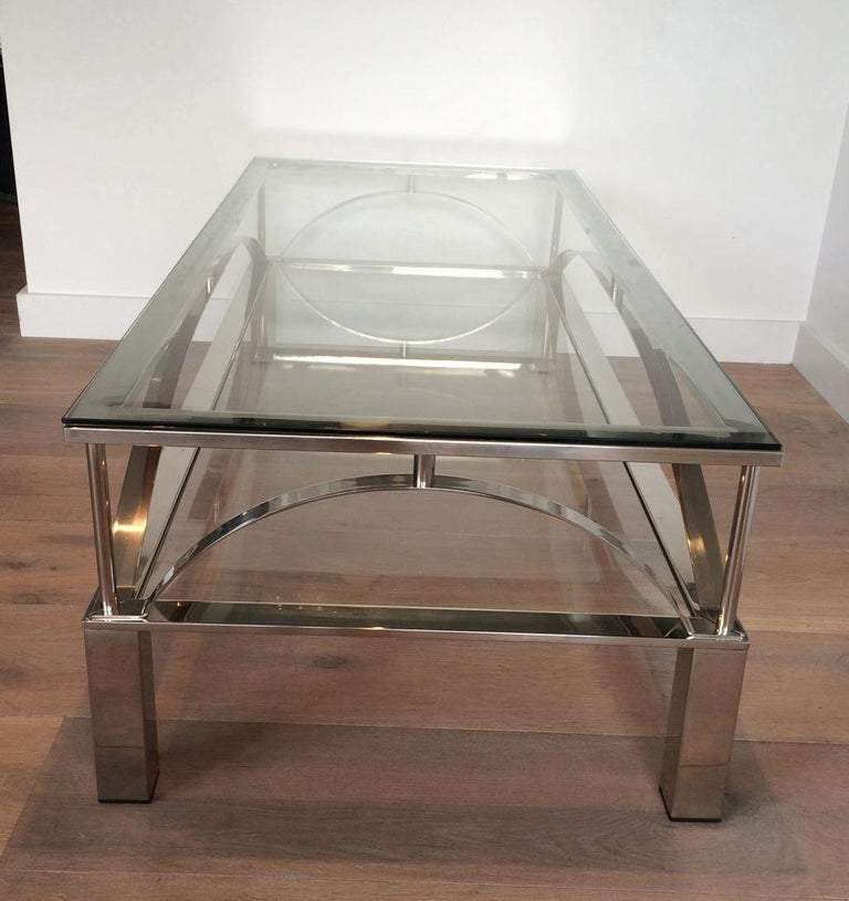 French Unusual Design Chrome Coffee Table, circa 1960 For Sale