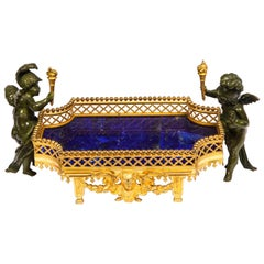 Unusual Dore Bronze, Lapis Lazuli, & Patinated Bronze Cupid Centerpiece