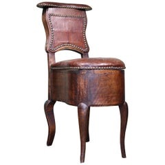 Unusual Early 19th Century French Oak and Leather Desk Chair