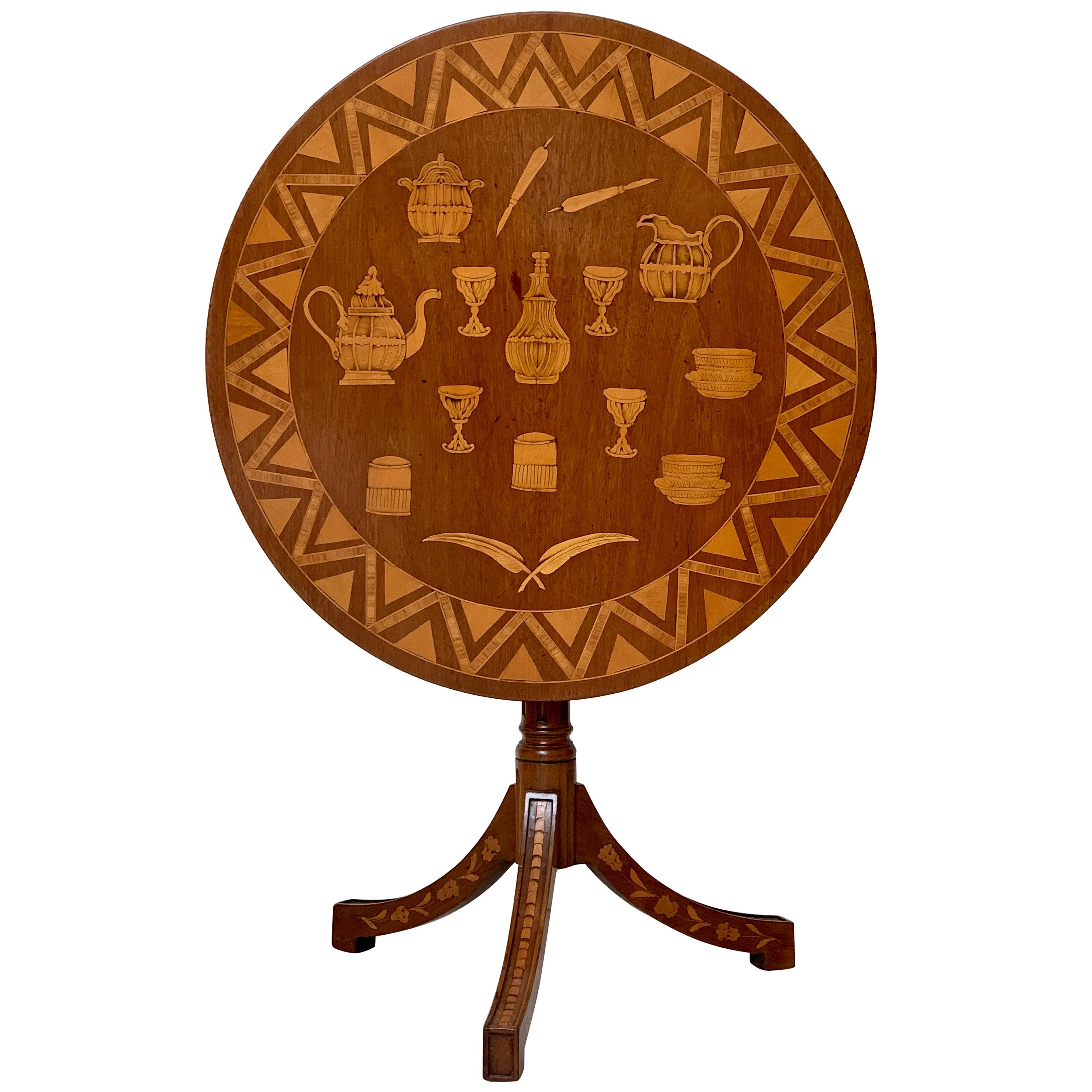 Unusual Early 19th Century Marquetry Tilt-Top or Tripod Table Provincial