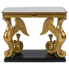 Unusual Early 19th Century Swedish Carved Giltwood Console Table