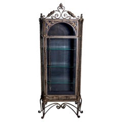 Unusual Early 20th C Tall Spanish Narrow Iron and Beveled Glass Display Cabinet
