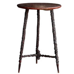 Unusual Early 20th Century English Folkart Blackthorn Tripod Table