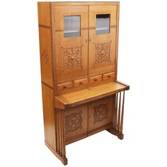Unusual Early 20th Century Vintage Oak Arts & Crafts Drop Front Secretary Desk