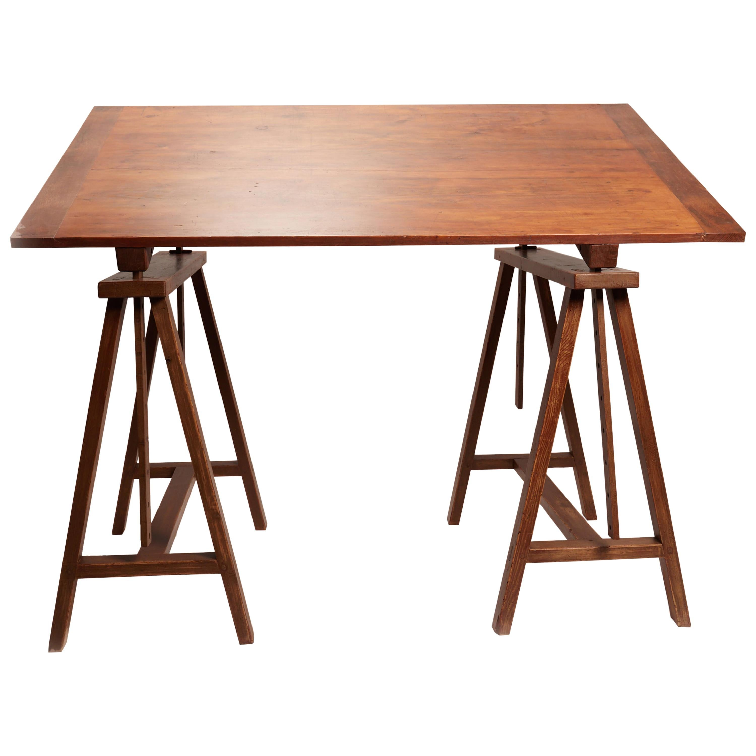 Unusual Early XX Century Wooden Drafting Machine Table