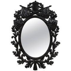 Unusual Ebonized Military Trophy Oval Mirror