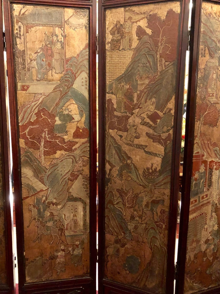 Unusual Eight Panel Chinese Coromandel Screen circa 1700-1800 with Carved Frame For Sale 1