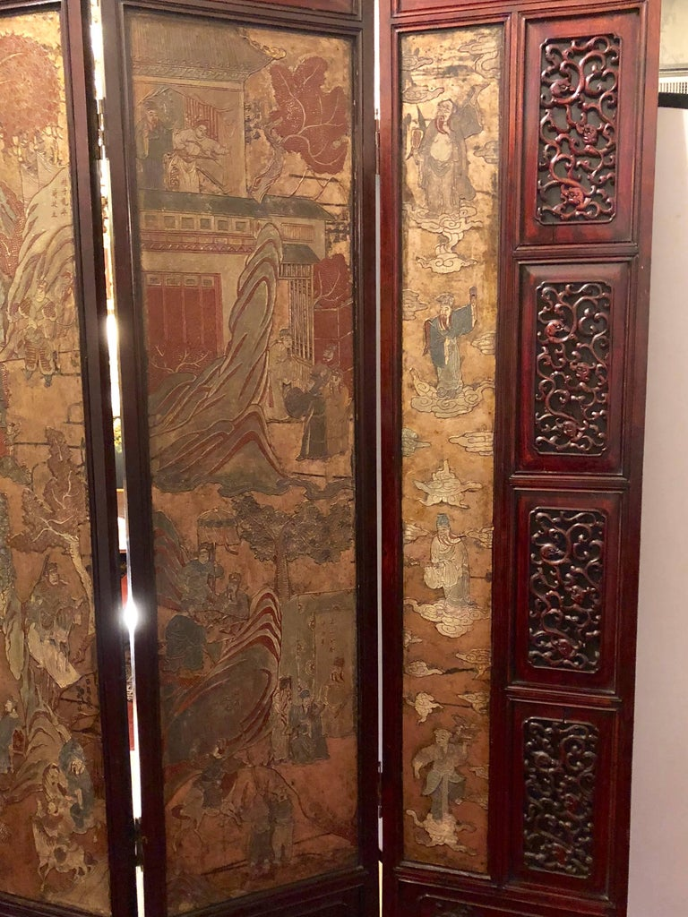 Unusual Eight Panel Chinese Coromandel Screen circa 1700-1800 with Carved Frame For Sale 3
