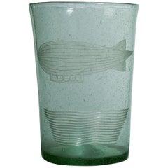 Unusual English 1950s Glass Vase