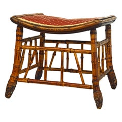 Unusual English Burned Bamboo Stool or Bench with Fabric Cover Late 19th Century
