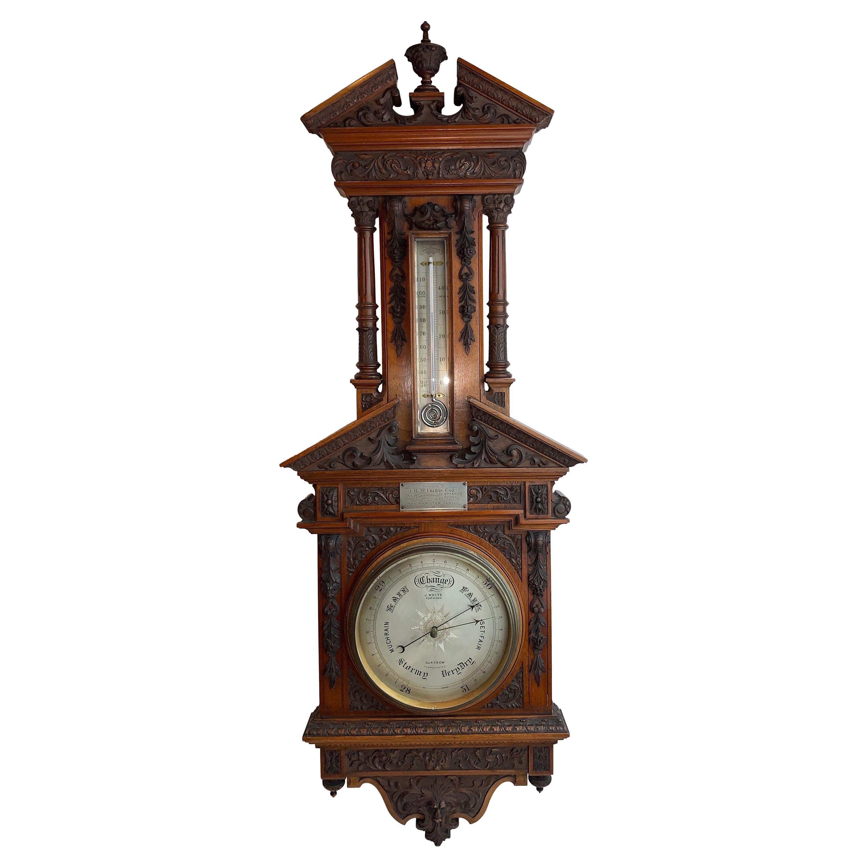 Unusual English Carved Mahogany Barometer