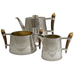 Unusual English Silver Plate and Polished Horn Tea Set, circa 1890