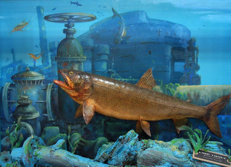 Sporting Art Unusual Fish Taxidermy Diorama Set in Decaying Underwater Industrial Environment For Sale