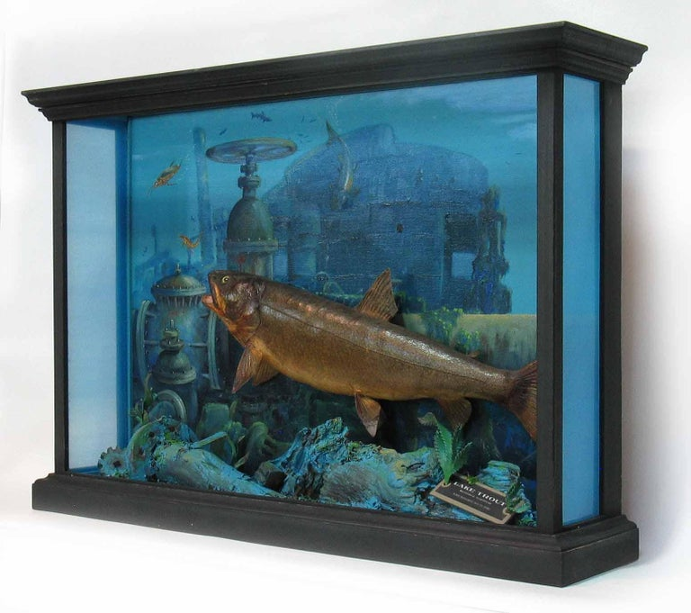 Unusual Fish Taxidermy Diorama Set in Decaying Underwater Industrial Environment In Excellent Condition For Sale In Ottawa, Ontario