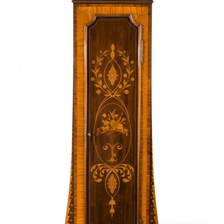 Unusual Flame Mahogany Long-Case Clock Attributed to Maples In Good Condition For Sale In Lymington, Hampshire