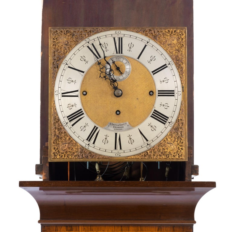 Late 19th Century Unusual Flame Mahogany Long-Case Clock Attributed to Maples For Sale