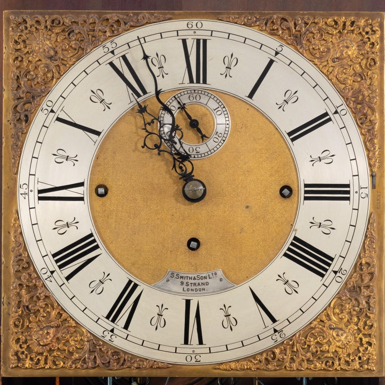 Unusual Flame Mahogany Long-Case Clock Attributed to Maples For Sale 1