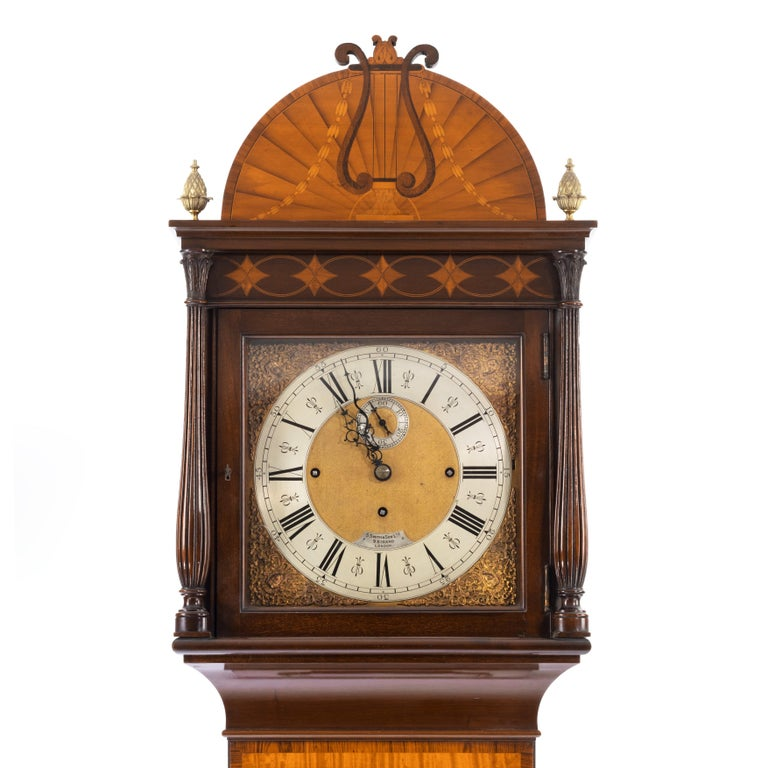 Unusual Flame Mahogany Long-Case Clock Attributed to Maples For Sale 2