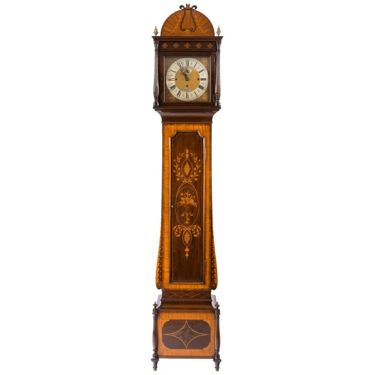 Unusual Flame Mahogany Long-Case Clock Attributed to Maples For Sale
