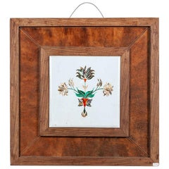 Unusual Floral and Leaf Marble Wall Hanging, 20th Century