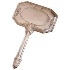 Unusual Form for Silver USA Mirror with Handle