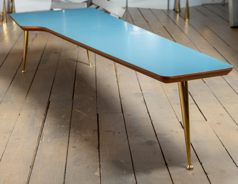 Unusual Form Three Brass Leg with Blue Laminate Top Coffee Table Gio Ponti Style For Sale 1
