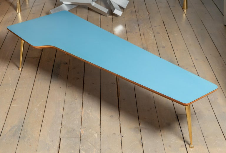 Unusual Form Three Brass Leg with Blue Laminate Top Coffee Table Gio Ponti Style For Sale 3