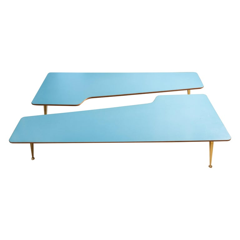 Unusual Form Three Brass Leg with Blue Laminate Top Coffee Table Gio Ponti Style For Sale