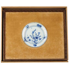 Unusual Framed 17th Century Antique Chinese Porcelain Ming Flowers Plate and Box