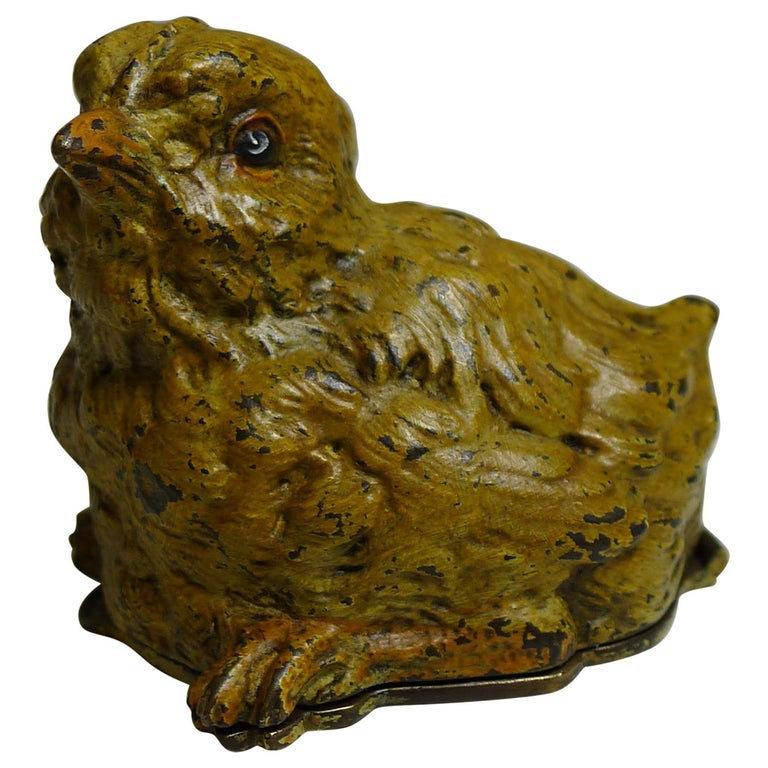Unusual Franz Bergman Cold Painted Bronze Postage Stamp Box, Chick, circa 1900 For Sale