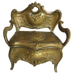 Unusual French Antique Mini Jewelry Box in the Form of a Loveseat, Gilt Metal