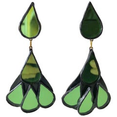 Unusual French Contemporary Talosel  Resin Green Statement Earrings