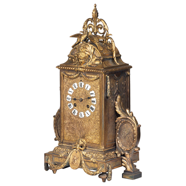 Unusual French Gilt Bronze Mantel Clock
