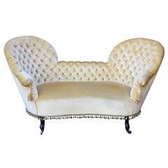 Unusual French Napoleon III Tufted Sofa