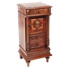 Unusual French Walnut Bedside Cabinet