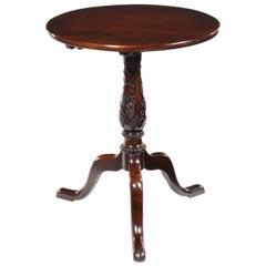 Unusual 18th Century George III Carved Mahogany Tripod Table