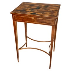 Unusual George III Inlaid Rosewood and Specimen Wood Parquetry Work Table