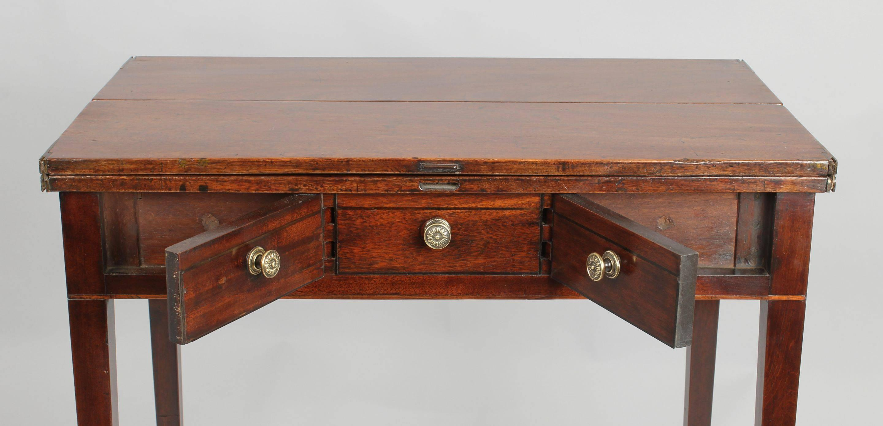 Unusual George III Period Mahogany Flap-Top 'Patience' Occasional Table
