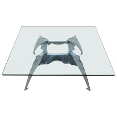 Unusual Glass and Cast Aluminium Coffee Table in the Style of Philippe Starck