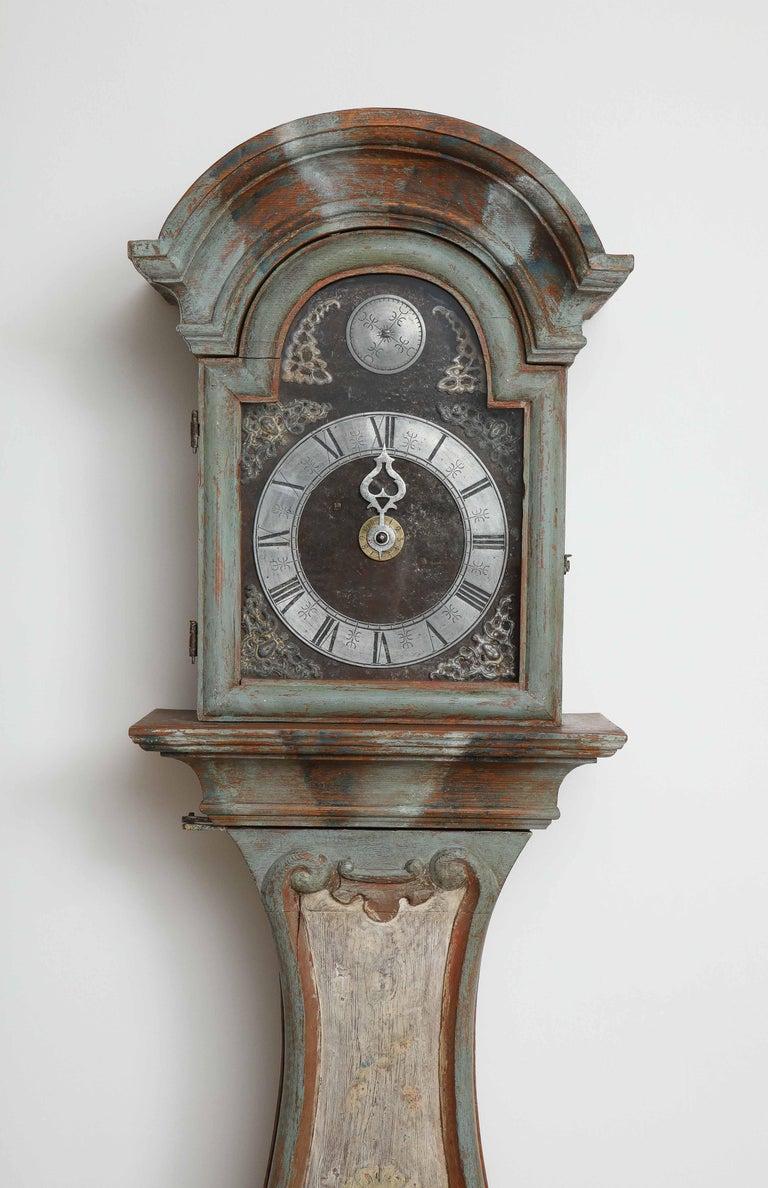 18th Century and Earlier Unusual Gustavian Tall Case Clock, Origin, Sweden, circa 1790 For Sale