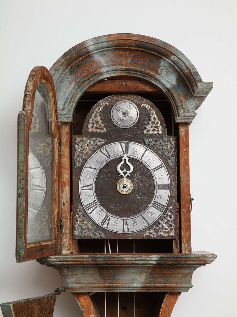 Unusual Gustavian Tall Case Clock, Origin, Sweden, circa 1790 For Sale 1