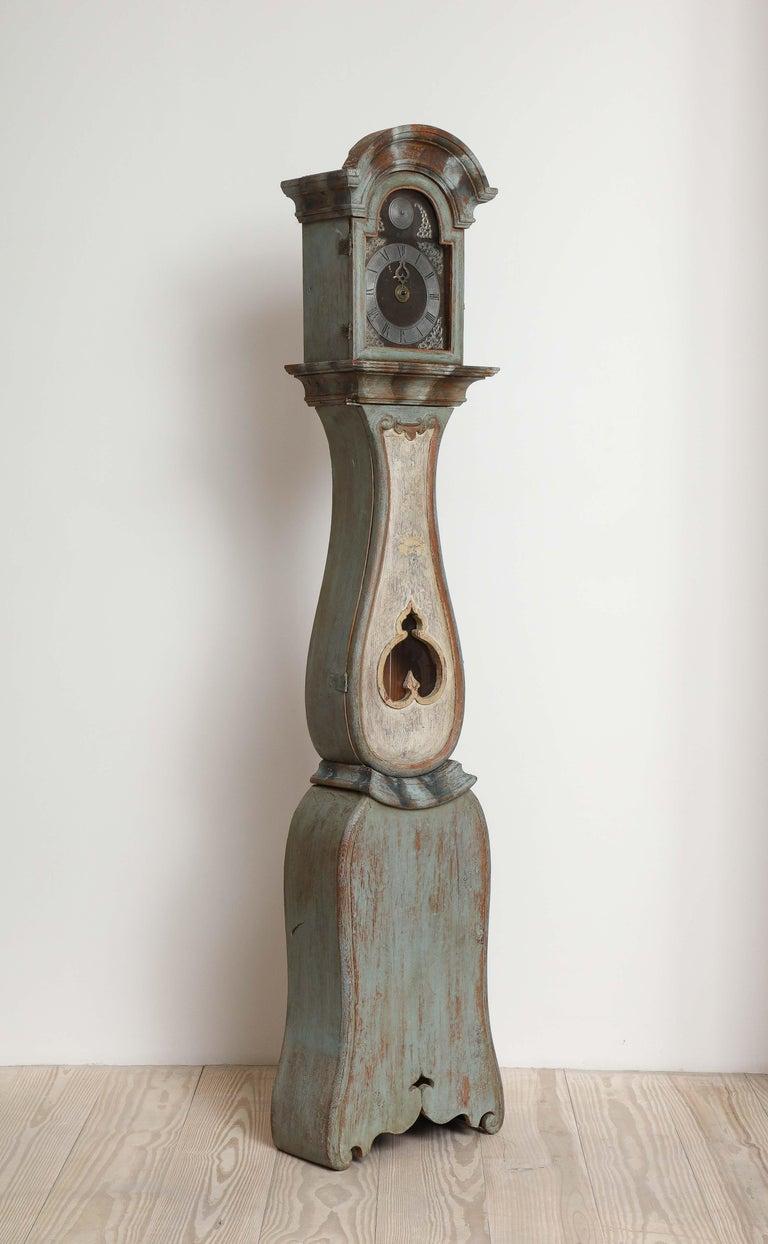 Paint Unusual Gustavian Tall Case Clock, Origin, Sweden, circa 1790 For Sale