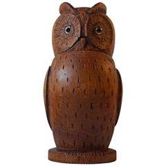 Unusual Hand Carved Owl Tea Caddy German Volk Art, circa 1900, Signed
