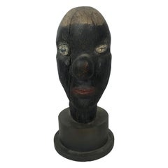 Unusual Hand Carved Wood and Painted Folk Art Head, circa 1930s