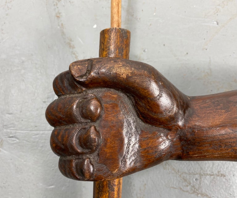 Unusual Hand Carved Wooden Arm, Flag Holder with Flag, Veterans Facility For Sale 2