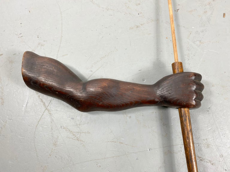 Unusual Hand Carved Wooden Arm, Flag Holder with Flag, Veterans Facility In Good Condition For Sale In Buffalo, NY
