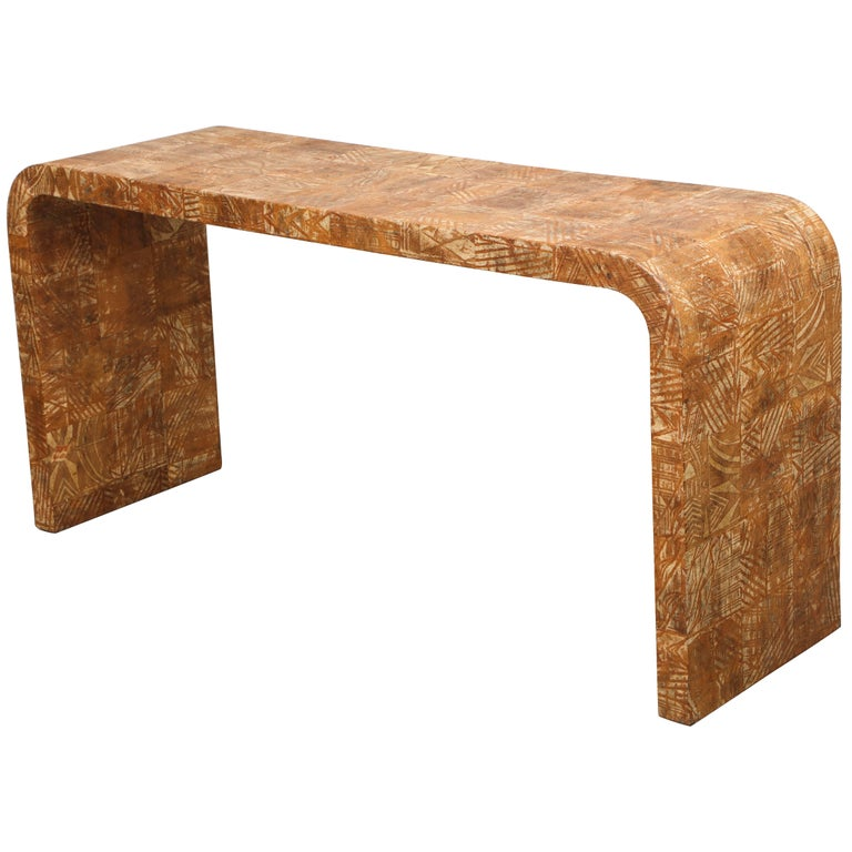 Unusual Hand-Stenciled  Bark Console Table